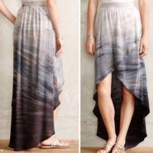 Anthropology Silk High Low Skirt